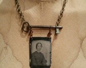 Vintage Lady Tintype Necklace with Old Key and Crystal
