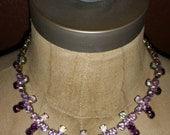 Vintage Purple Rhinestone Cross & Earring Set