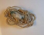 Aqua Aura Stone & Silver Wire Wrapped Pendant Hand Made