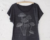 Sale! Women's T-Shirt, Mushroom Shirt, Loose Tee, Bohemian Clothing, Outdoorsy Gift