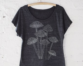 Women's T-Shirt, Mushroom Shirt, Loose Tee, Bohemian Clothing, Outdoorsy Gift