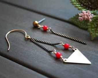 Nerys Earrings - asymmetric triangle geometric red brass black modern minimal minimalist arrow