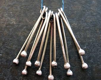 Droplet Fringes - set of 6 - Antiqued Sterling Silver Dangles