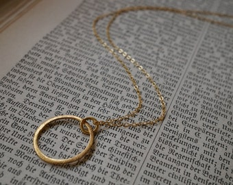 Gold Vermeil Circle Pendant with 14K Gold-fill Necklace