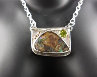 Koroit Boulder Opal with Peridot Gemstone Pendant/Necklace