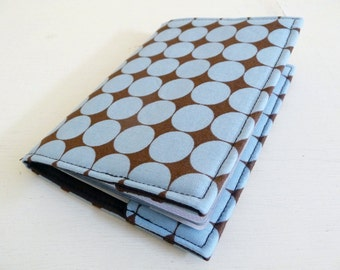 Blue and Brown Polka Dot Cotton Print Passport Cover