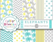 40% off Elephant digital paper in neutral yellow, grey, teal for baby showers, cards, invites, scrapbooking Instant Download