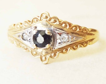 Victorian Design Sapphire & Diamond Lacy Scalloped Edge Ring, 9k Gold Ring, Approximate Size US 6.5
