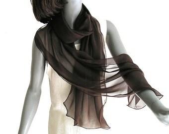 """Brown Chiffon Scarf, Chocolate Silk Shawl, Long Brown Scarf Wrap, 100% Silk Chiffon, Formal Shoulder Scarf, Artinsilk, 20x70"""" M L, Artinsilk"""