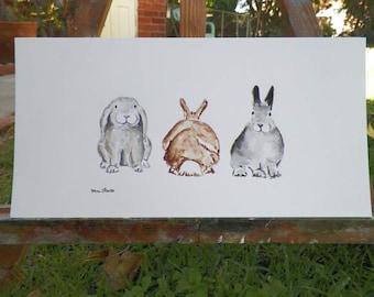 Bunny Rabbit Line Up Watercolor Bunny Art Original Painting by Artist Debra Alouise