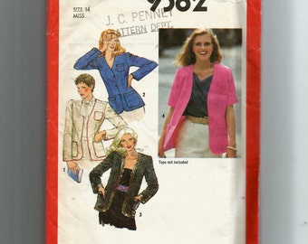 Vintage Simplicity Misses' Unlined Cardigan Pattern 9382