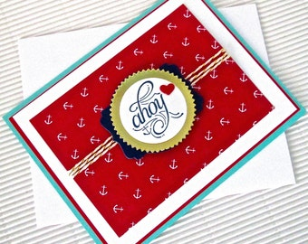 Ahoy card handmade stamped embellished love anniversary Valentine friendship nautical stationery greeting home living