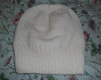 Hand knit knitted 100 % cormo wool hat watch cap beanie all natural yarn men women teens cream white Large one size