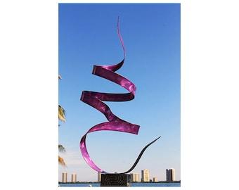 Purple Modern Metal Garden Sculpture, Handmade Contemporary Indoor Outdoor Abstract Yard Statue - Purple Twist by Jon Allen