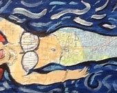"original painting/collage  on wood 5x16"" carolina beach mermaid"