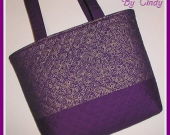 Purple And Gold Tote Bag Purse Cosmetic Makeup Pouch Quilted Metallic