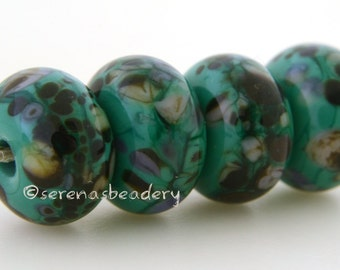 Lampwork Glass Bead Set CYPRESS - TANERES sra teal green purple ivory brown