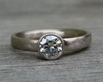 Forever Brilliant Moissanite and Recycled 18k Palladium White Gold Alternative Engagement Ring, Matte/Brushed, Made to Order