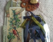 Three Yards of Hand Dyed Lavender Rust Green 7mm Silk Ribbon with Antique Lace Heart Button Image