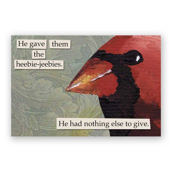 Heebie Jeebies Magnet - Bird - Cardinal - Gift - Stocking Stuffer - Creepy - Humor