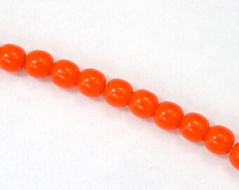 6mm Opaque Orange Druk Bead (50 Pcs) #GAD081