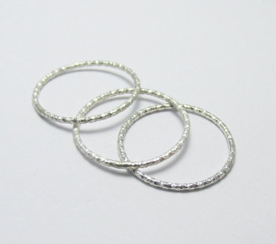 textured thin stackable rings sterling silver by