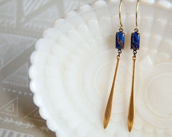 deco dangle earrings- prohibition style- blue and gold- vintage brass