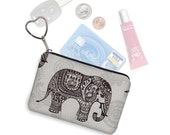 Elephant Keychain Fob Coin Purse Key Chain Wallet Small Zipper Pouch Business Card Case Purse Organizer paisley gray black RTS