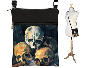 Small Steampunk Cross Body Purse Cezanne Skulls Art Crossbody Bag Sling Shoulder Bag fits eReader ipad mini goth black gray zipper RTS