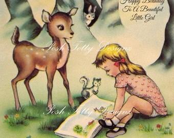 Happy Birthday To A Beautiful Little Girl Happy Christmas Doe Deer Woodlands Vintage Digital Download Printable Images (452)
