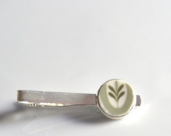 NEW Recycled China Tie Clip - Olive Green