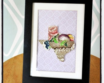 Framed Recycled China Texas