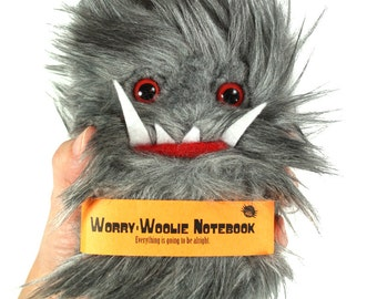 Worry Woolie Childrens Notebook, cuddly gray red magical monster journal