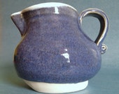 SALE Ambitious blue creamer pitcher - white high-fire pottery vessel (2 cup capacity)
