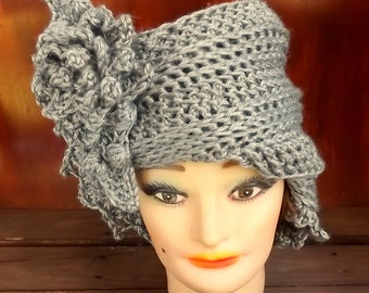 Womens Crochet Hat,  Womens Hat Trendy,  Gray Hat,  Gray Crochet Hat,  Lauren 1920s Cloche Hat Crochet Flower