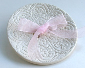 Weddings Ring Bearer Pillow, wedding ring Dish, Ceramic wedding ring holder, Lacy Hand Built  Porcelain
