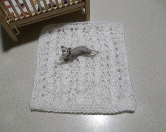 Antique White/Ivory Hand Knit Miniature Crib Blanket 1/12 Scale