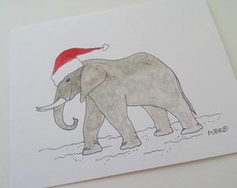Elephant Christmas Cards, Elephant Holiday Cards, Animal Holiday Cards, Christmas Card Set of 6