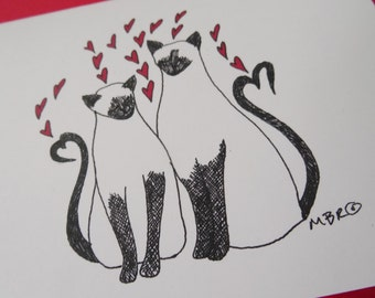 Siamese Cats Valentine, Siamese Cats Anniversary Card, Cat Wedding Card, Cat Greeting Card, Cats in Love