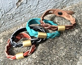 Unisex Leather Braid Bracelet, Raw Brass Choose Color - SALE - see Listing for Coupon Codes...