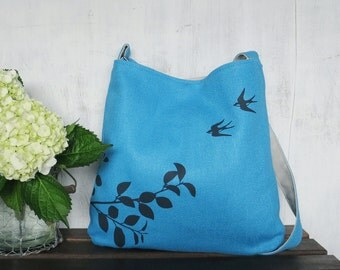 Blue Tote Handbag - Shoulder Messenger Bag for Women - Flying Swallows Screen Printed Hemp Bag - Crossbody Bag - Fabric Tote