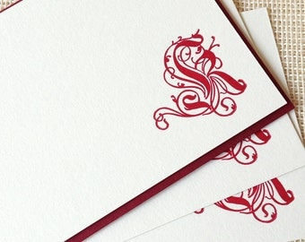 Letterpress Monogram Card Set - Ornate