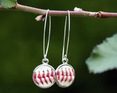 long baseball earrings seam / stitch round dangle drops genuine leather - choose silver, gold, copperl - baseball mom jewelry bezel 16 mm