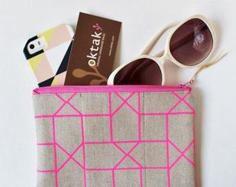 zipper pouch neon geometric - neon pink lines on natural linen zipper pouch makeup bag