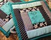Handmade upcycled Hot Pads made off grid Matching pair
