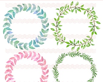 Printable Foliage Wreaths Watercolor (4) Graphics Clip Art Downloadable PNG Commercial Use