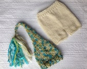 RTS Newborn - 3 month Baby Unisex Knit Outfit BaBY PHoTo PRoP Tassel SToCKiNG CaP PaNT SET Ivory Aqua Tan Beige Beanie WiNTeR CoMiNG HoME
