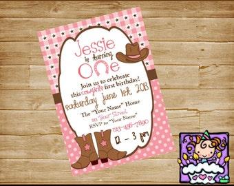 Personalized Printable  Cowgirl Birthday Invitation