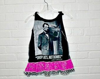 Girls Tank Dress Abe Lincoln Boom Box Drop Beats not Bombs Size 4 5 6