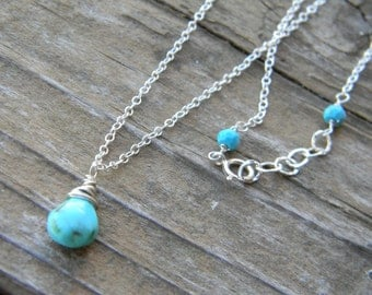 beautiful sleeping beauty turquoise necklace - sterling silver